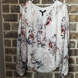 White House Black Market Burnt Out Material Blouse